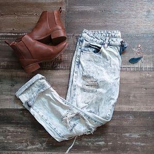✨Distressed vintage wash high-waist pants✨